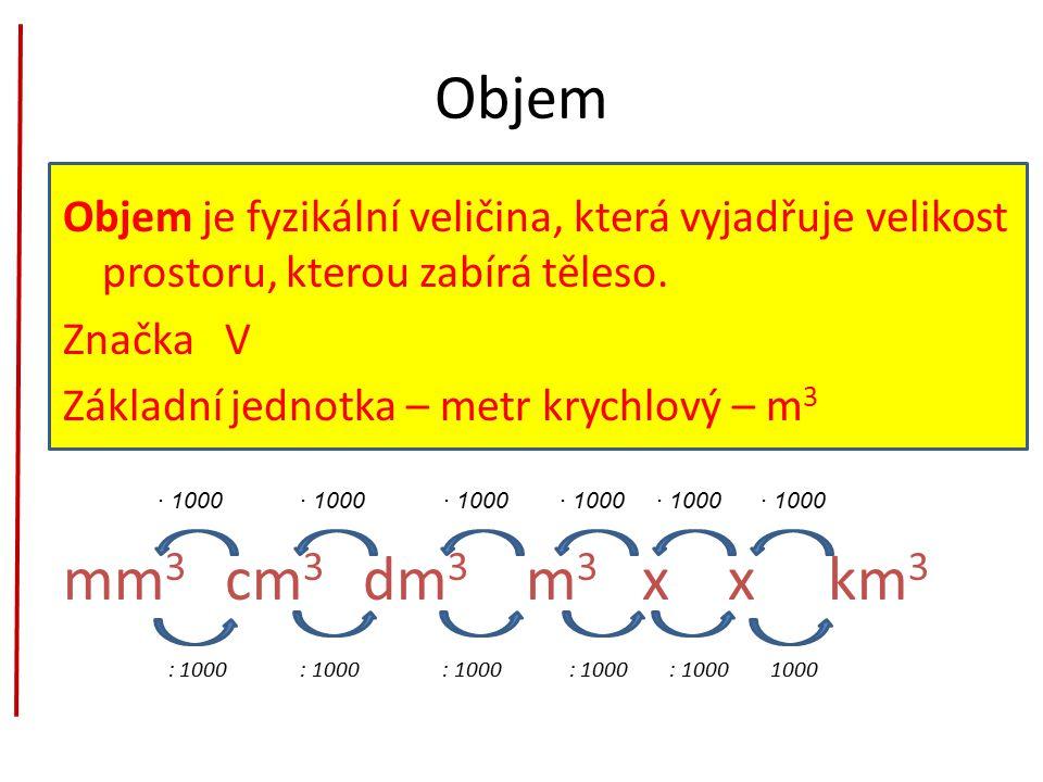 Objem Objem je fyzikální veličina, která vyjadřuje velikost prostoru, kterou zabírá těleso. Značka V.