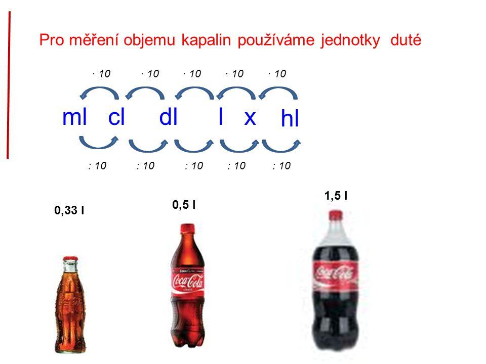 Pro měření objemu kapalin používáme jednotky duté