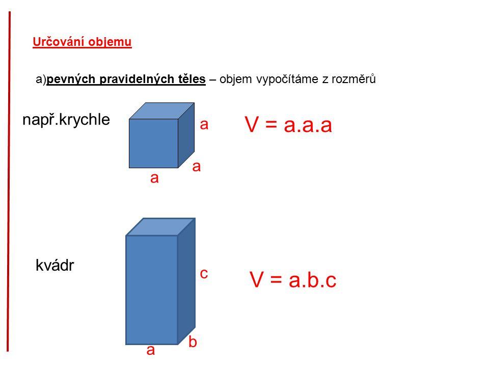 V = a.a.a V = a.b.c např.krychle a a a kvádr c b a Určování objemu