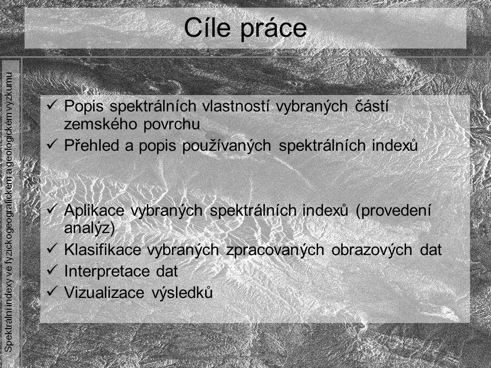 Cíle práce Popis spektrálních vlastností vybraných částí zemského povrchu. Přehled a popis používaných spektrálních indexů.