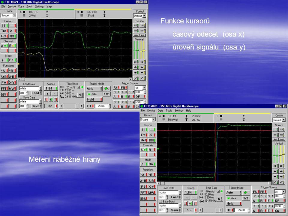 Funkce kursorů časový odečet (osa x) úroveň signálu (osa y) Měření náběžné hrany