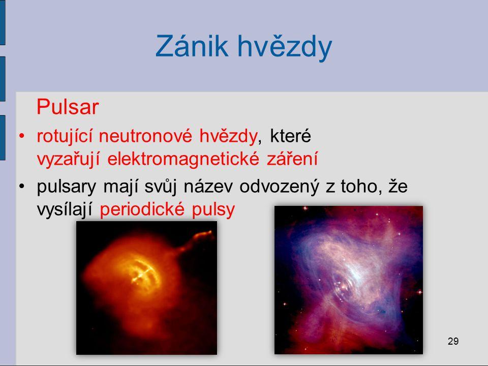 Zánik hvězdy Pulsar. rotující neutronové hvězdy, které vyzařují elektromagnetické záření.