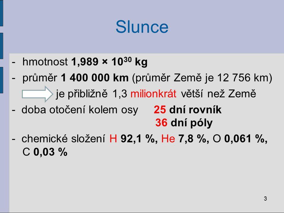 Slunce hmotnost 1,989 × 1030 kg. průměr 1 400 000 km (průměr Země je 12 756 km) je přibližně 1,3 milionkrát větší než Země.