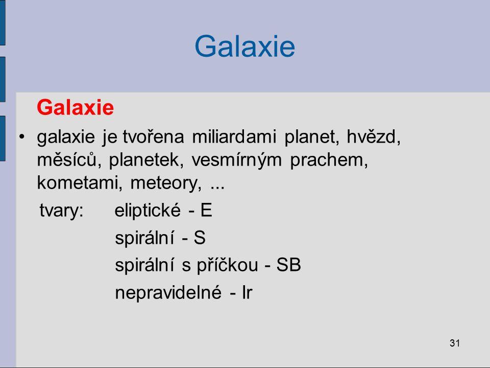 Galaxie Galaxie. galaxie je tvořena miliardami planet, hvězd, měsíců, planetek, vesmírným prachem, kometami, meteory, ...