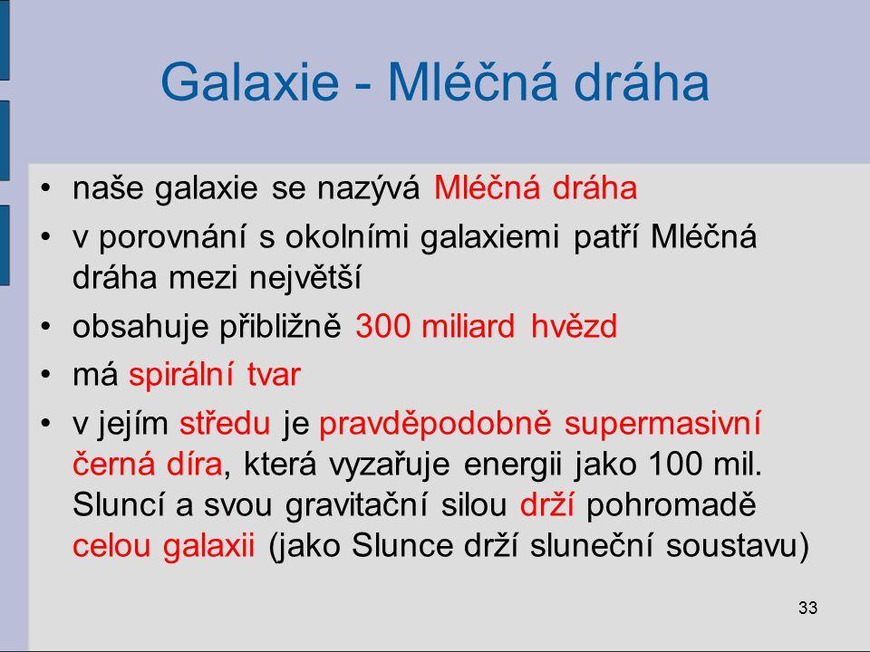 Galaxie - Mléčná dráha naše galaxie se nazývá Mléčná dráha