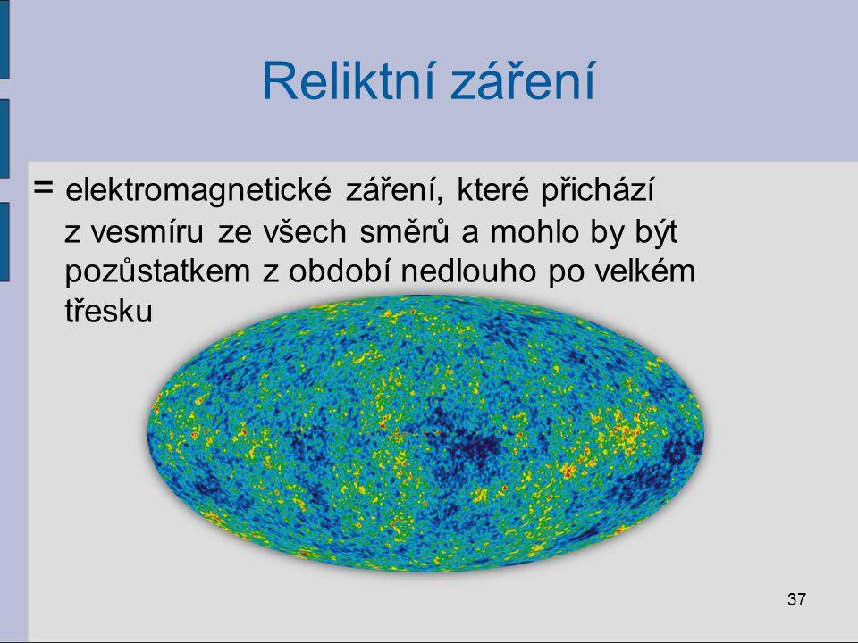 Reliktní záření = elektromagnetické záření, které přichází z vesmíru ze všech směrů a mohlo by být pozůstatkem z období nedlouho po velkém třesku.