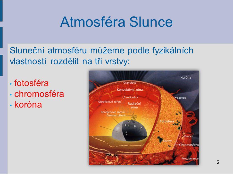 Atmosféra Slunce Sluneční atmosféru můžeme podle fyzikálních vlastností rozdělit na tři vrstvy: fotosféra.