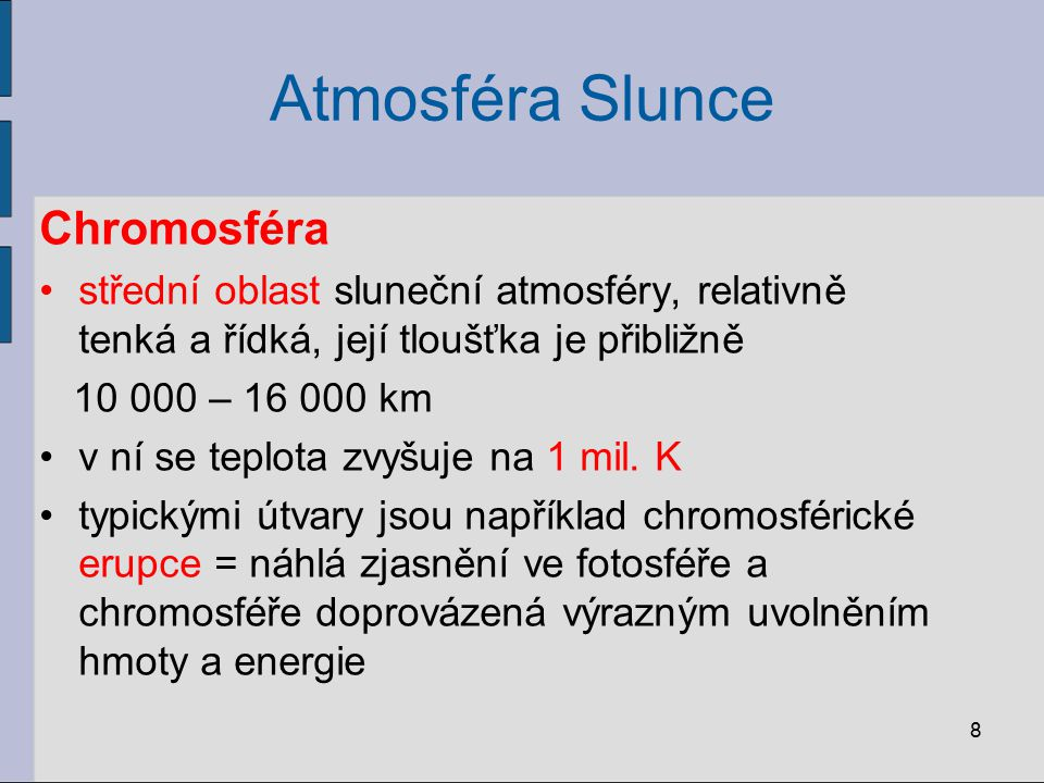 Atmosféra Slunce Chromosféra