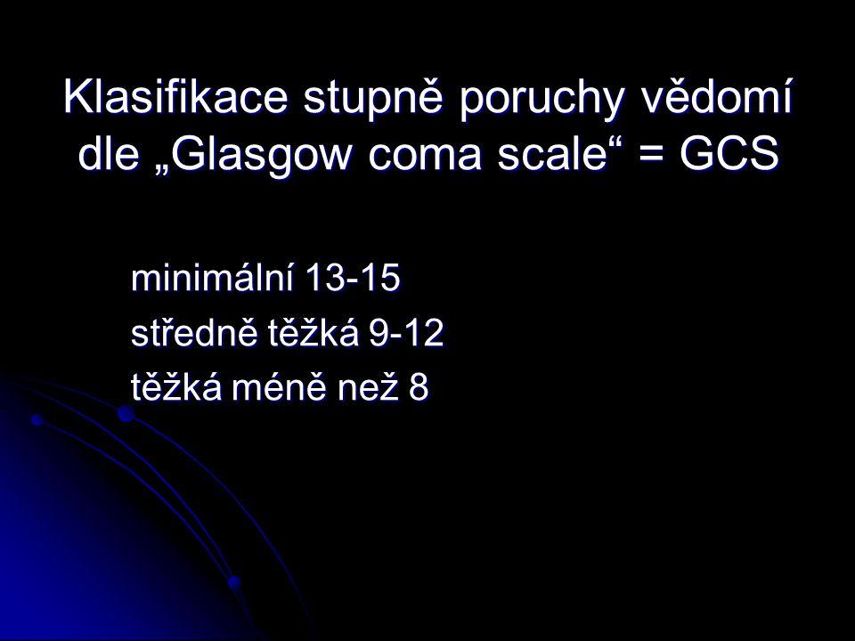 """Klasifikace stupně poruchy vědomí dle """"Glasgow coma scale = GCS"""