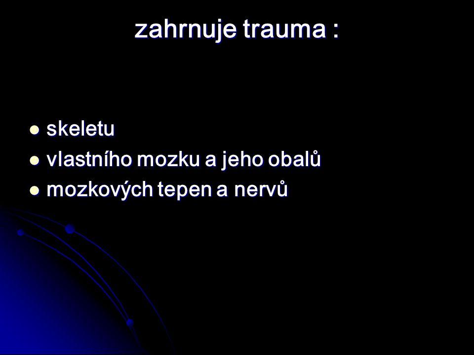 zahrnuje trauma : skeletu vlastního mozku a jeho obalů