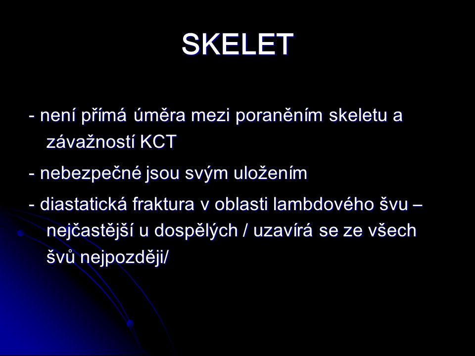 SKELET - není přímá úměra mezi poraněním skeletu a závažností KCT