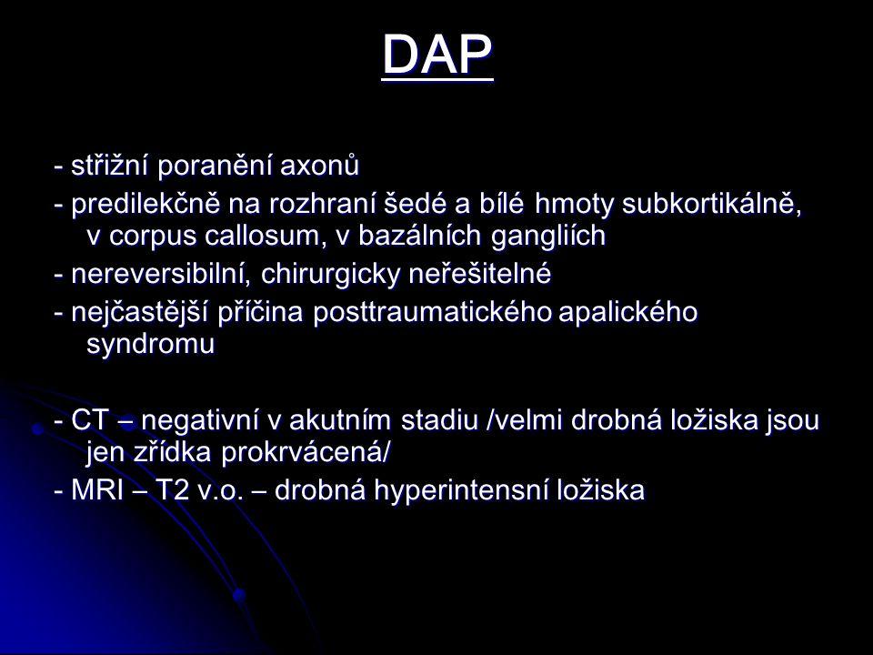 DAP - střižní poranění axonů