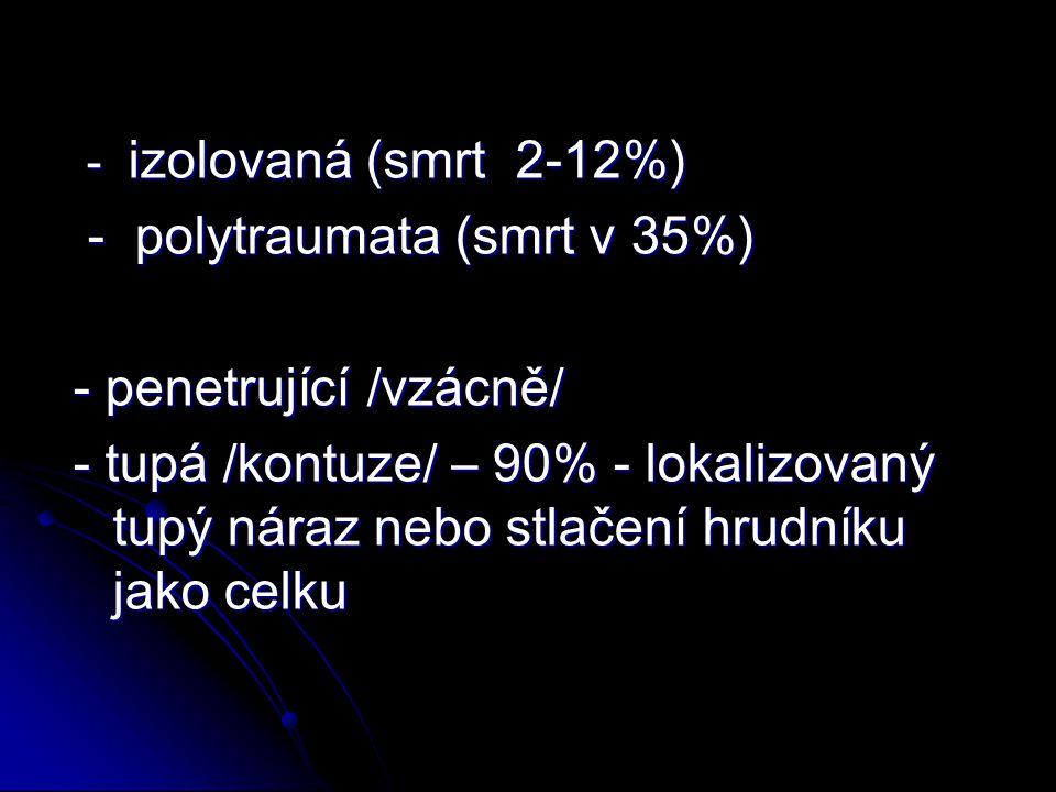 - polytraumata (smrt v 35%) - penetrující /vzácně/