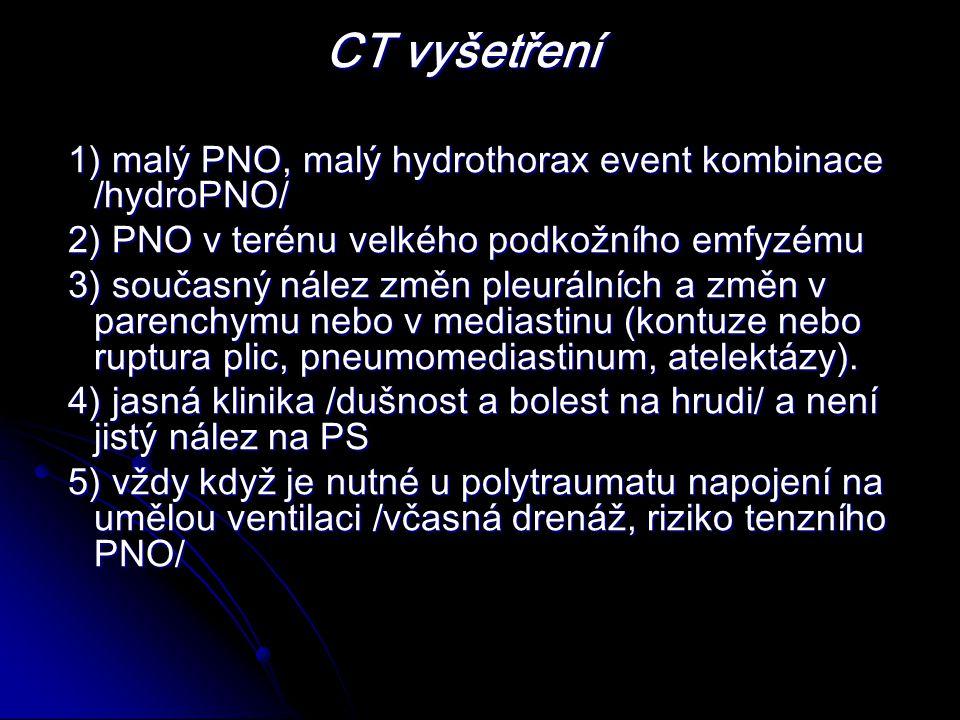 CT vyšetření 1) malý PNO, malý hydrothorax event kombinace /hydroPNO/