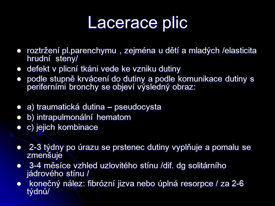 Lacerace plic roztržení pl.parenchymu , zejména u dětí a mladých /elasticita hrudní steny/ defekt v plicní tkáni vede ke vzniku dutiny.