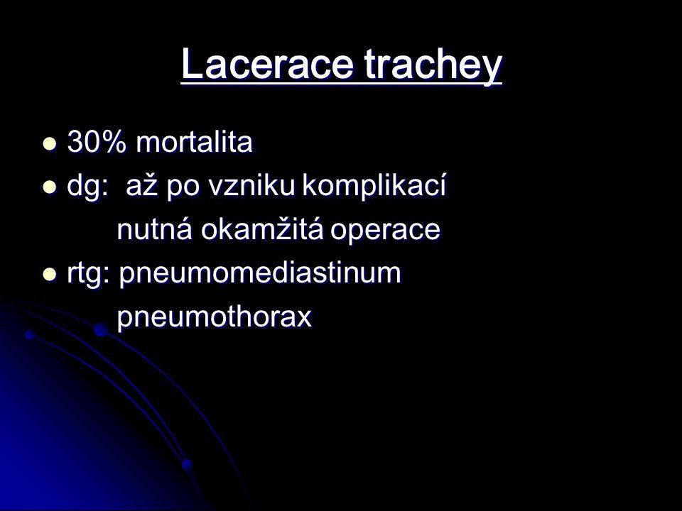 Lacerace trachey 30% mortalita dg: až po vzniku komplikací