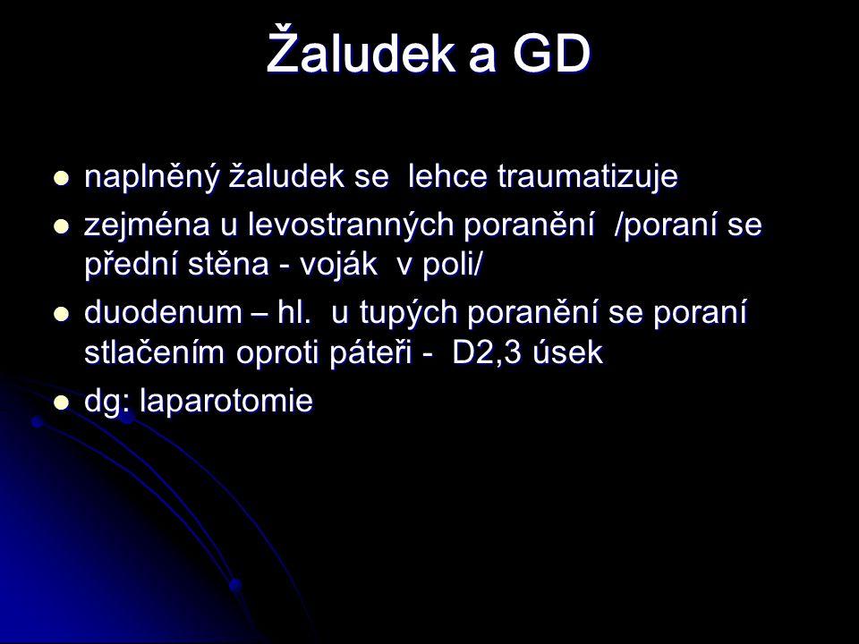 Žaludek a GD naplněný žaludek se lehce traumatizuje