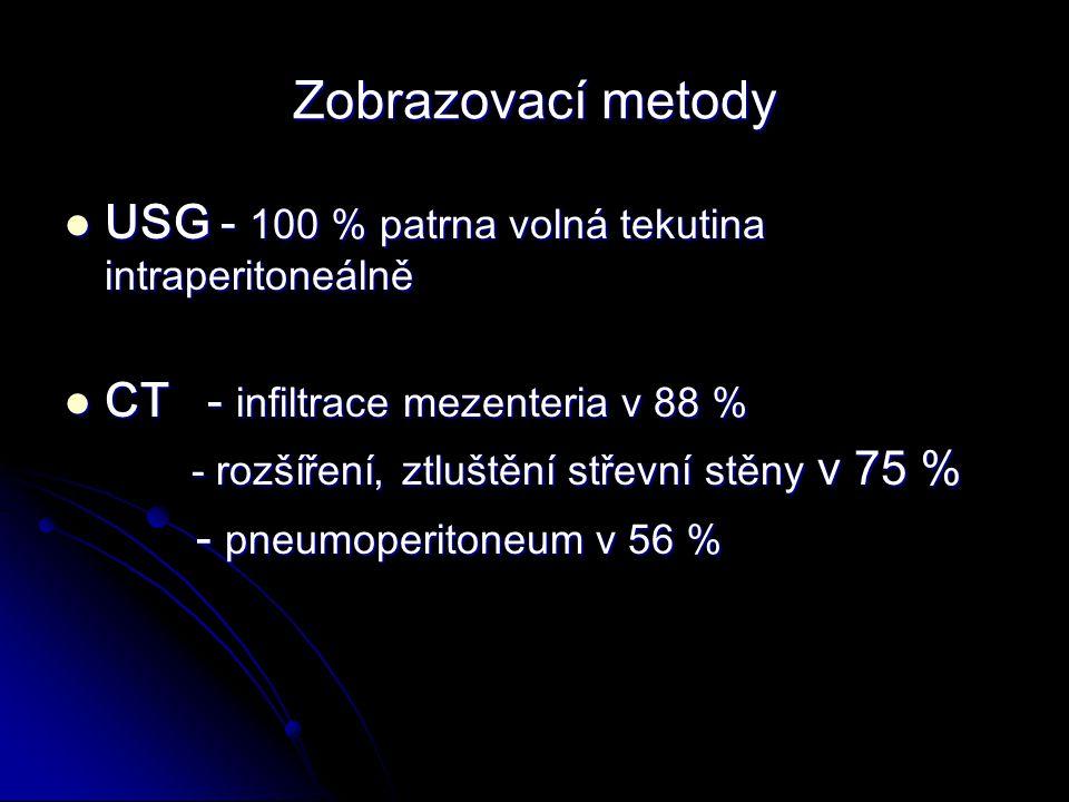 Zobrazovací metody USG - 100 % patrna volná tekutina intraperitoneálně