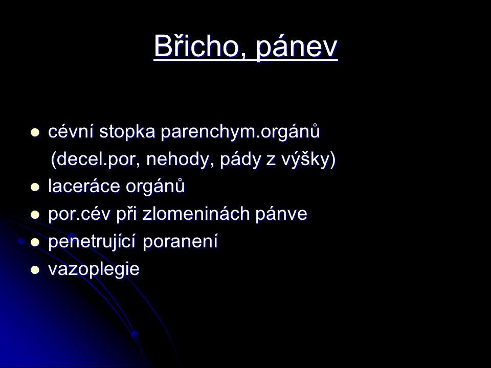 Břicho, pánev cévní stopka parenchym.orgánů