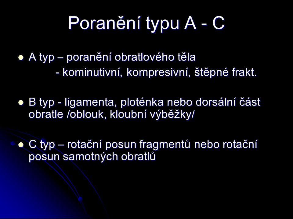 Poranění typu A - C A typ – poranění obratlového těla