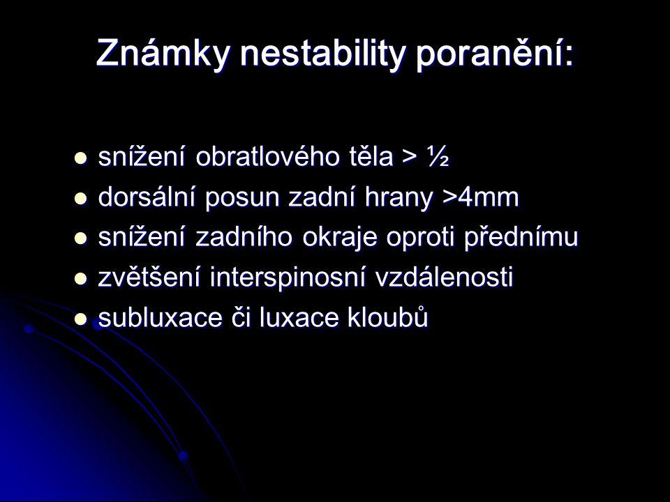 Známky nestability poranění: