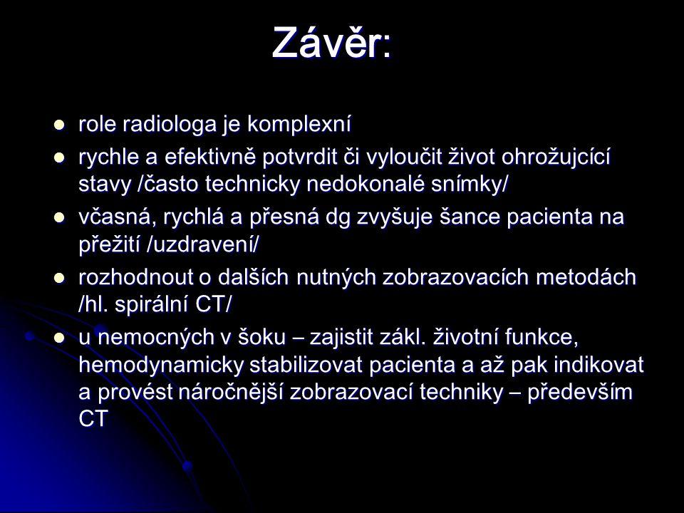 Závěr: role radiologa je komplexní