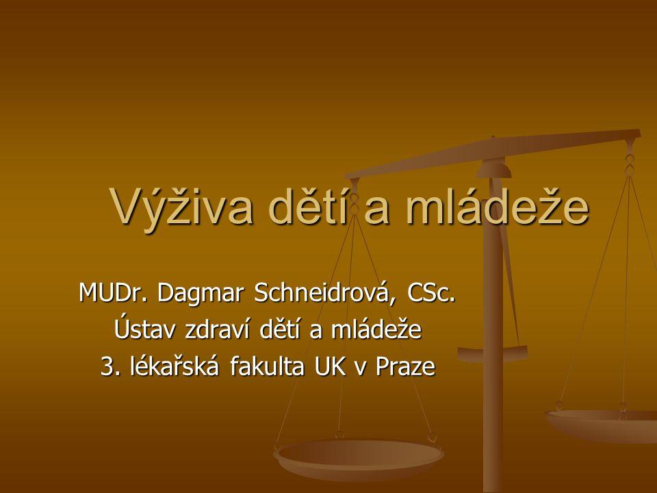 Výživa dětí a mládeže MUDr. Dagmar Schneidrová, CSc.