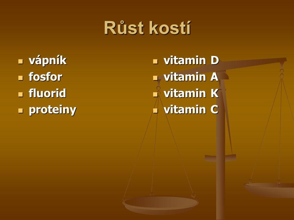 Růst kostí vápník fosfor fluorid proteiny vitamin D vitamin A
