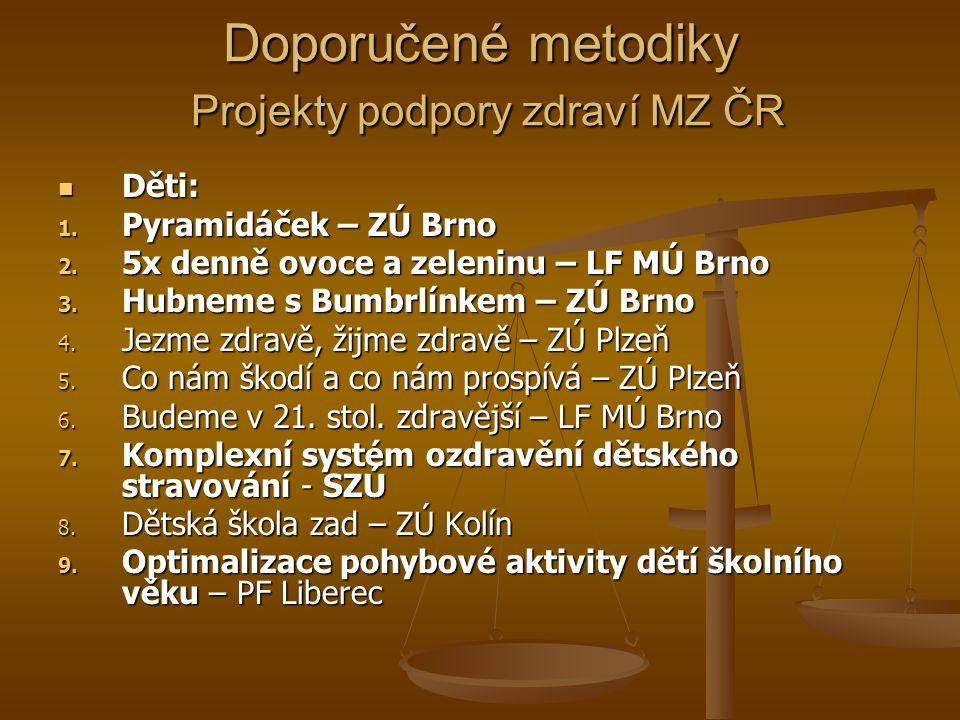 Doporučené metodiky Projekty podpory zdraví MZ ČR