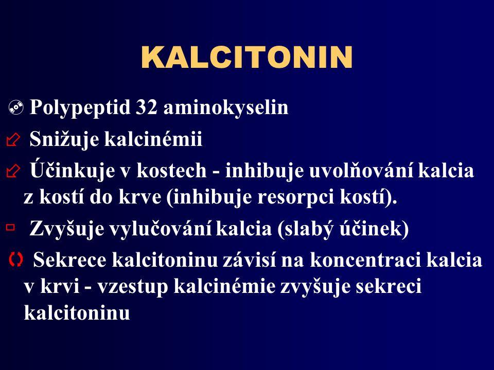 KALCITONIN Polypeptid 32 aminokyselin Snižuje kalcinémii