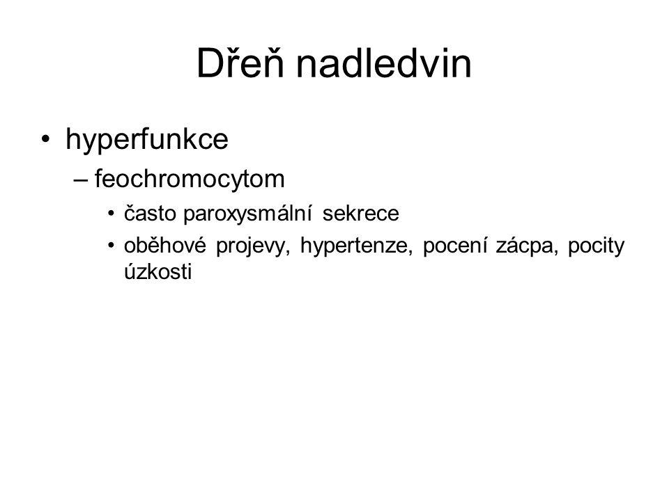 Dřeň nadledvin hyperfunkce feochromocytom často paroxysmální sekrece