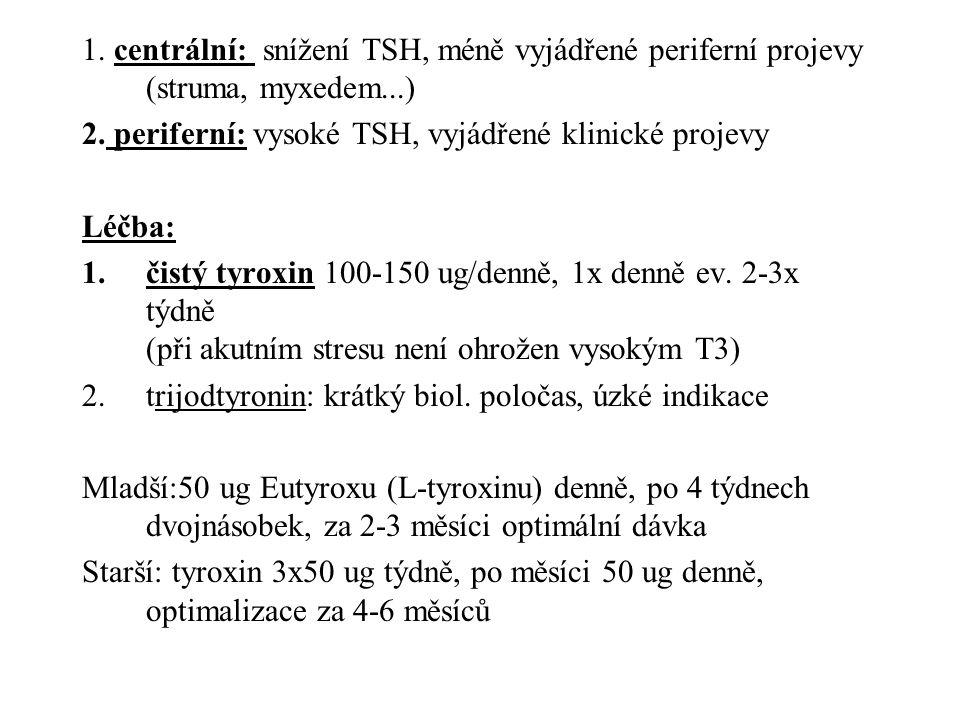 1. centrální: snížení TSH, méně vyjádřené periferní projevy (struma, myxedem...)