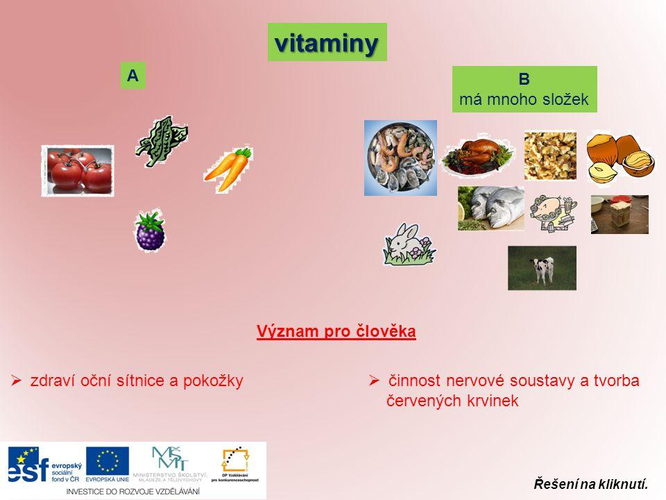 vitaminy A B má mnoho složek Význam pro člověka