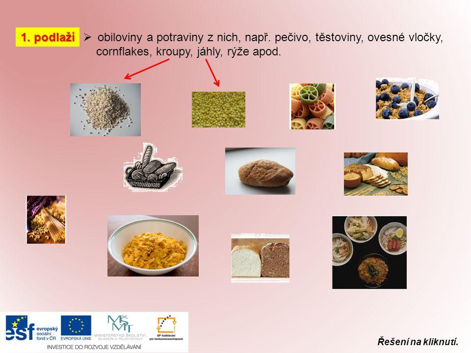 obiloviny a potraviny z nich, např. pečivo, těstoviny, ovesné vločky,