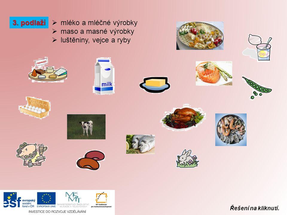 3. podlaží mléko a mléčné výrobky maso a masné výrobky