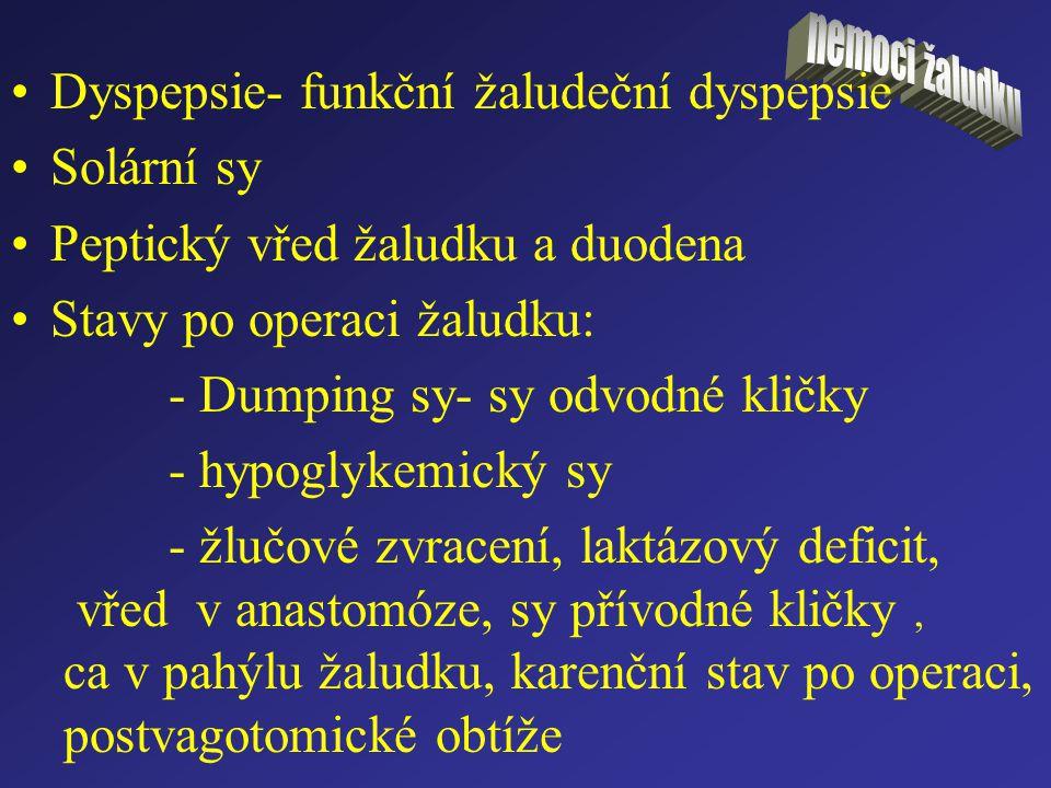 Dyspepsie- funkční žaludeční dyspepsie Solární sy