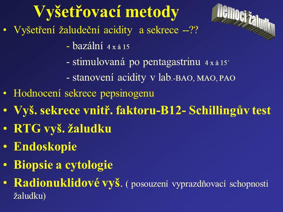 Vyšetřovací metody Vyš. sekrece vnitř. faktoru-B12- Schillingův test