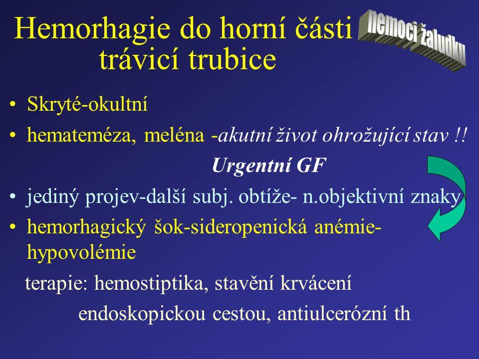 Hemorhagie do horní části trávicí trubice