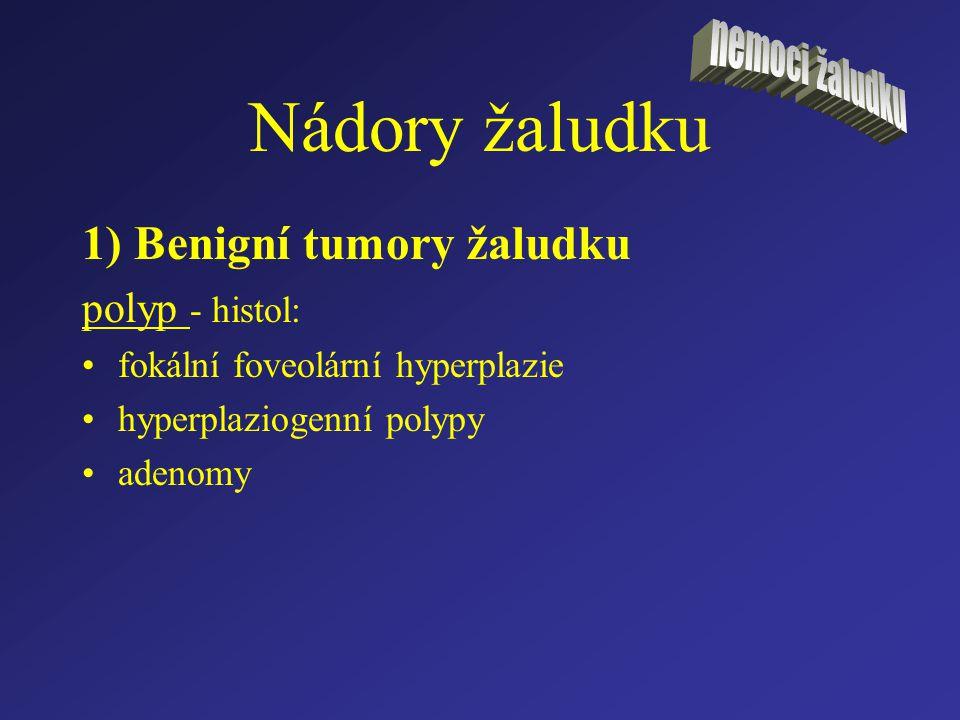 Nádory žaludku 1) Benigní tumory žaludku polyp - histol: