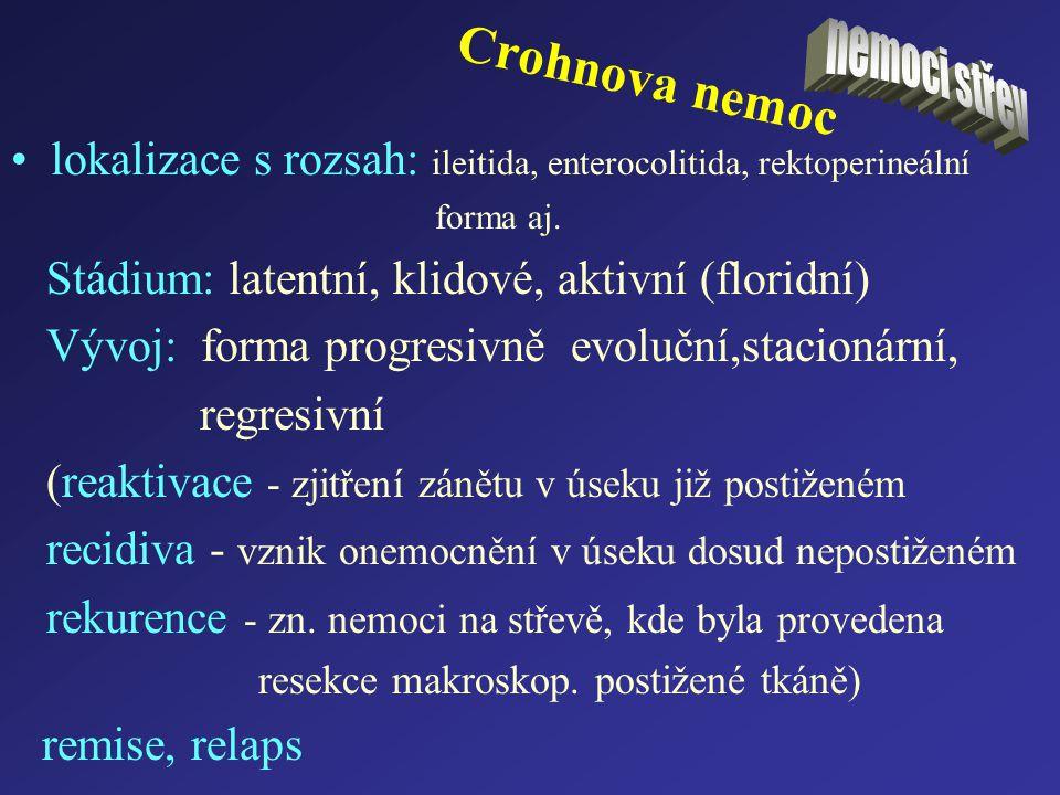 nemoci střev Crohnova nemoc. lokalizace s rozsah: ileitida, enterocolitida, rektoperineální. forma aj.