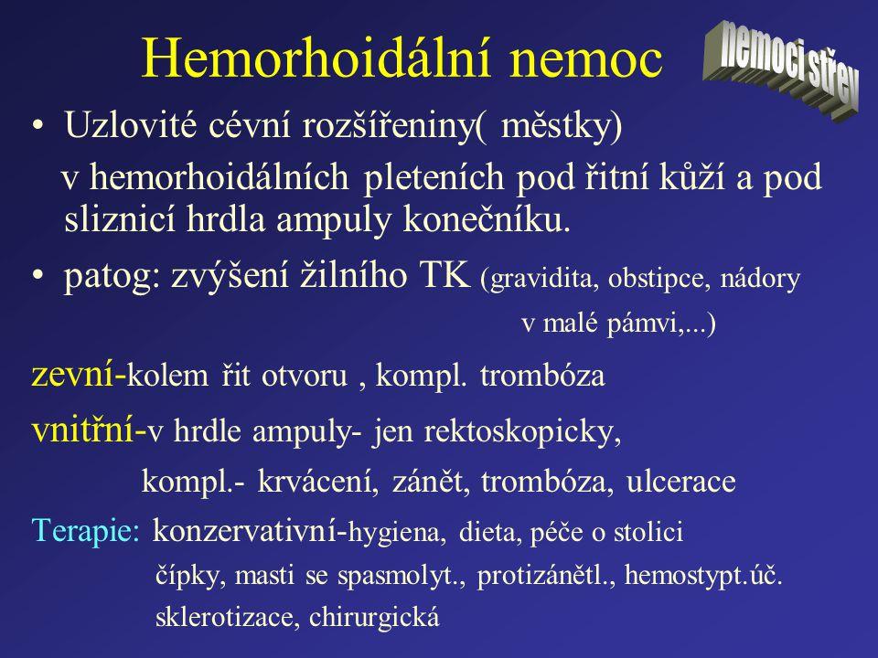 Hemorhoidální nemoc Uzlovité cévní rozšířeniny( městky)