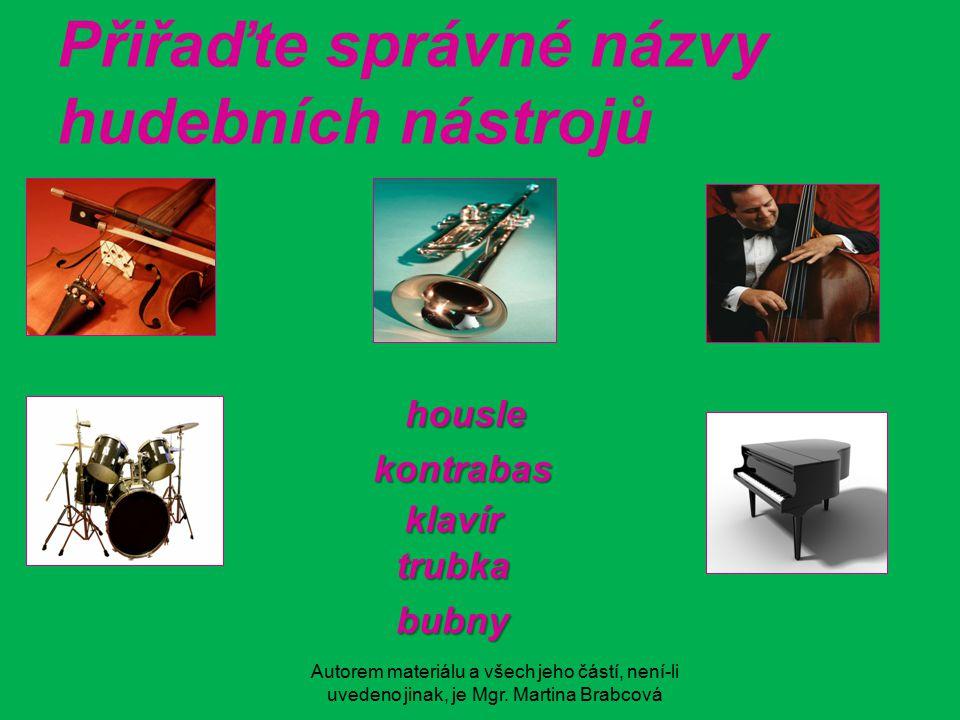 Přiřaďte správné názvy hudebních nástrojů