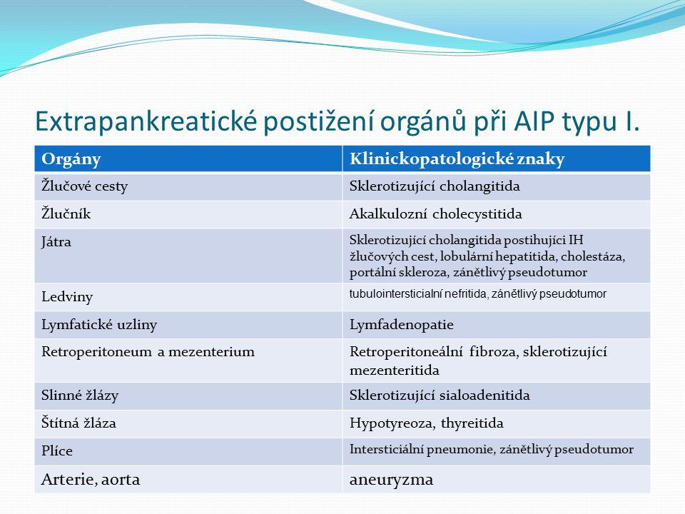 Extrapankreatické postižení orgánů při AIP typu I.