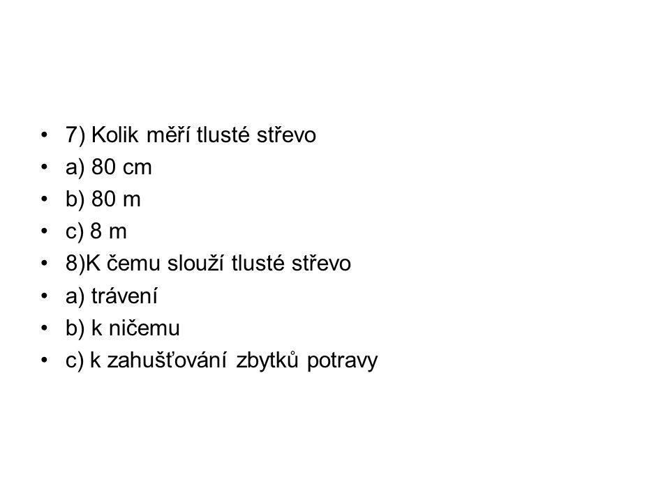 7) Kolik měří tlusté střevo