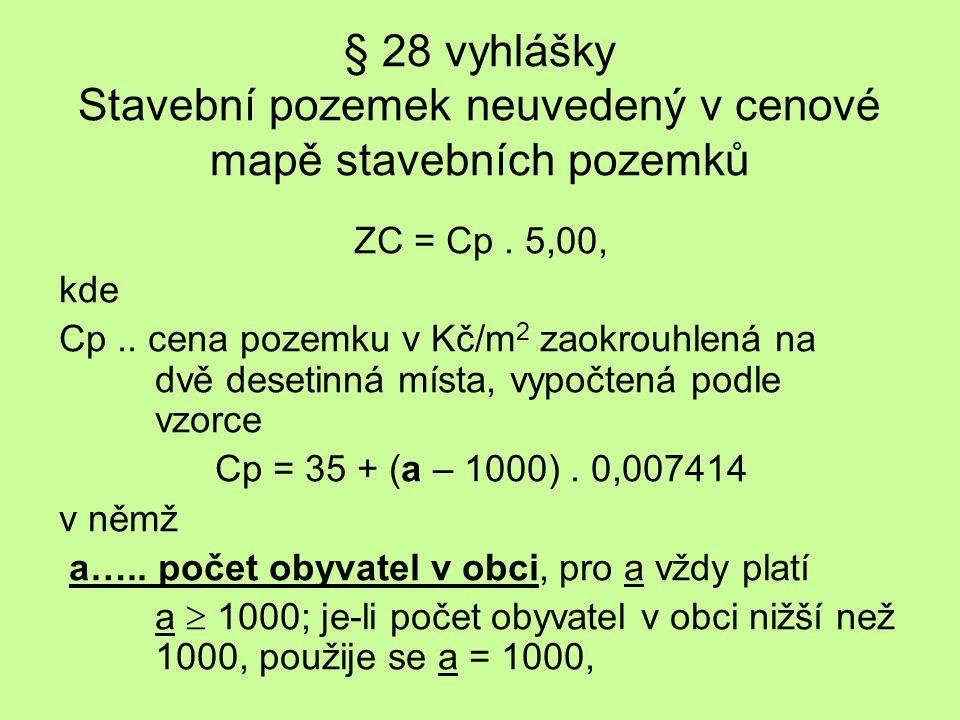 § 28 vyhlášky Stavební pozemek neuvedený v cenové mapě stavebních pozemků