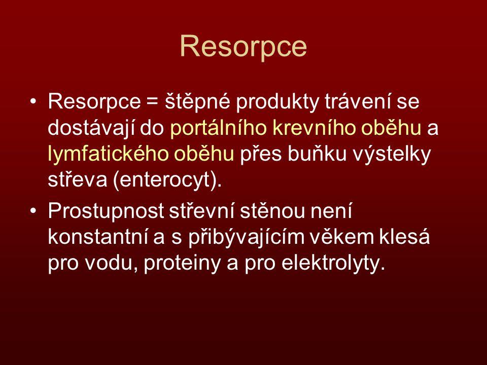 Resorpce Resorpce = štěpné produkty trávení se dostávají do portálního krevního oběhu a lymfatického oběhu přes buňku výstelky střeva (enterocyt).