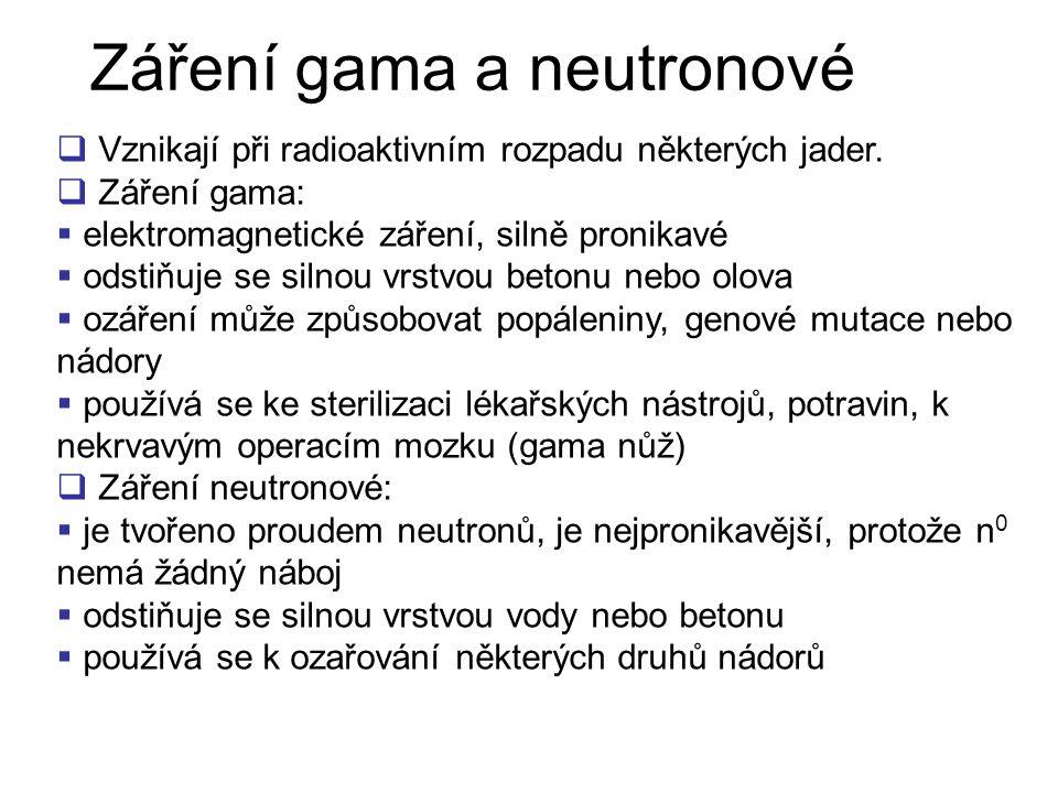 Záření gama a neutronové
