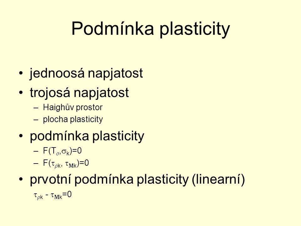 Podmínka plasticity jednoosá napjatost trojosá napjatost