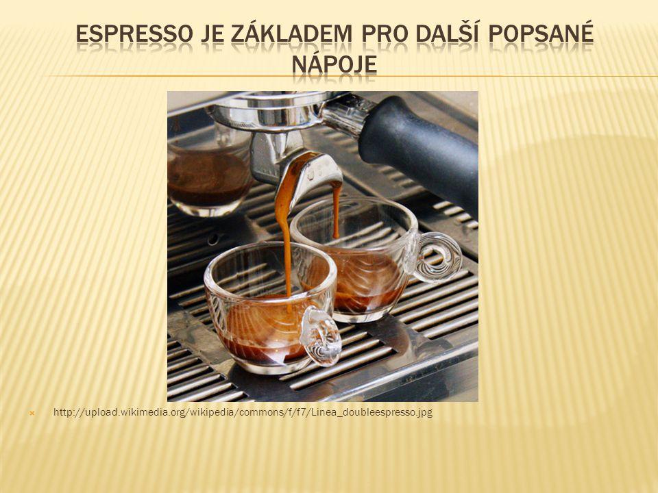 Espresso je základem pro další popsané nápoje