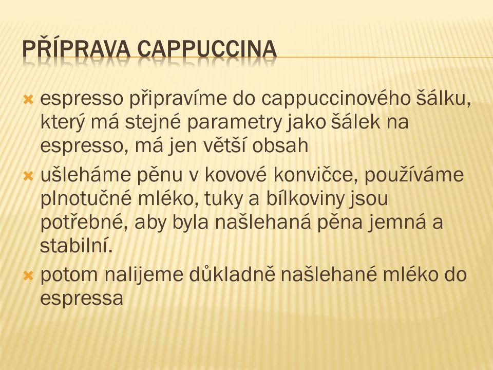 Příprava cappuccina espresso připravíme do cappuccinového šálku, který má stejné parametry jako šálek na espresso, má jen větší obsah.